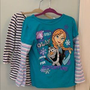 Pair girls long sleeve t shirts Disney & osh kosh